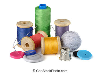 Sewing supplies - Thread spools, needle, thimble and buttons...