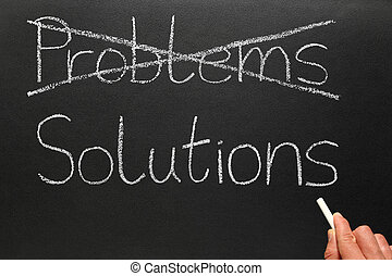 Problems and Solutions. - Crossing out problems and writing...