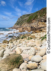 Porth Nanven, Cornwall, UK. - Vertical view of the rocky...