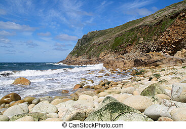 Porth Nanven, Cornwall, UK. - The rocky beach at Porth...