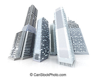 City - Modern buildings forming a city 3D rendered...