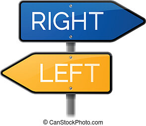 Right or Left Arrow Sign - Right or left arrow signs on a...