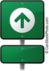 Forward Arrow Sign - Forward arrow highway sign with space...