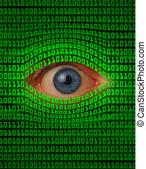 Eye Peeking Through Binary Code - Eye peeking through green...
