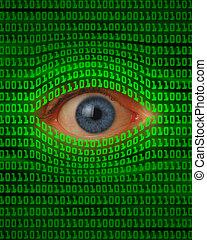 Eye Peeking Through Binary Code - Eye peeking through green...