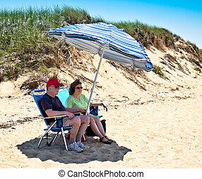 Couple on Cape Cod Bay Beach