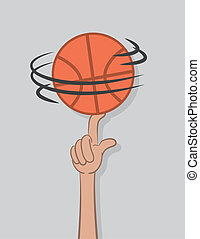 Basketball Spin Finger - Basketball spinning on top of...