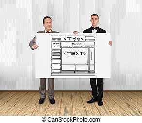 template web page - two businessman holding placard with...