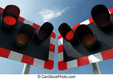 Railway warning lights - Warning lights at a rail crossing