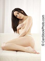 bonito, adulto, sensualidade, Topless, mulher