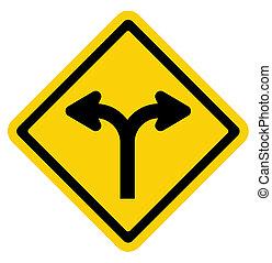 Bifurcado, estrada, sinal