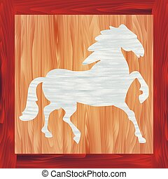 Wooden horse - Vector illustration of wooden picture of blue...