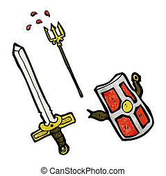 cartoon medieval weapons