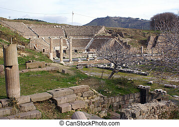 Theater and ruins in Bergama - Theater and ruins in...