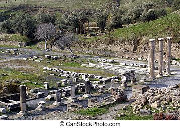 Ruins of temple Asklepion in Bergama, Turkey...