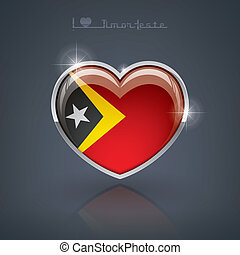 Timor-Leste - Glossy heart shape flags of the Worlds:...