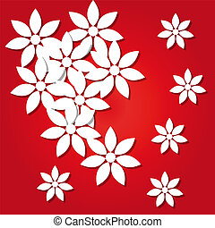 paper flowers on a red background