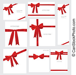 Set of Shiny red ribbons and beautiful gifts. Vector...