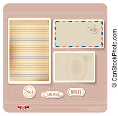 Vector illustration of a blank grunge paper, postcard and...