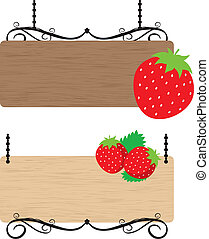 Strawberry wood sign