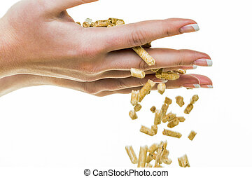 hand with pellets as an old natie energy. before white...