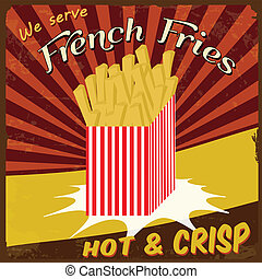 French fries vintage poster - French fries vintage grunge...