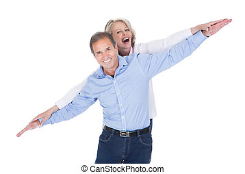 Portrait Of Mature Couple Having Fun - Happy Mature Couple...