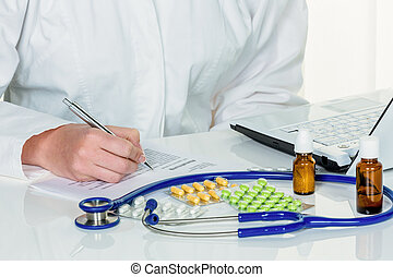 doctor prescribes a drug - doctor prescribes a medication...