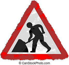 road works sign - Grunge style Road Works sign isolated on...