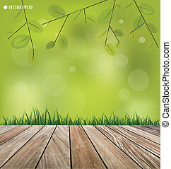 Natural background Fresh spring green grass and wood floor...
