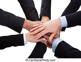 Business People Stacking Hand Over Each Other - Group Of...