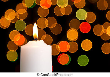 Candle light white with bokeh spots