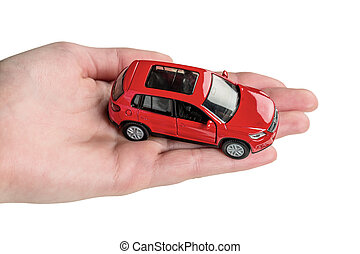 hand keeps model of a car