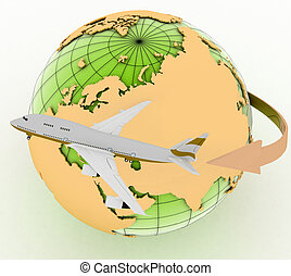 passenger jet airplane travels 3d render illustration on...