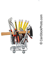 tool in a shopping cart - different tools of a craftsman lie...