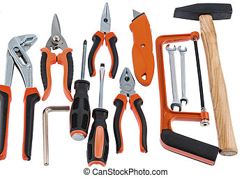 hand tool selection - different tools of a craftsman lie...