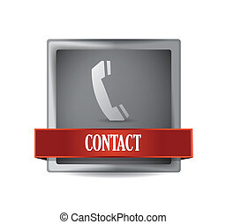 contact or call us button illustration design over white