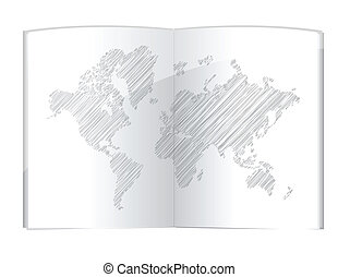 drawing world map in the book illustration