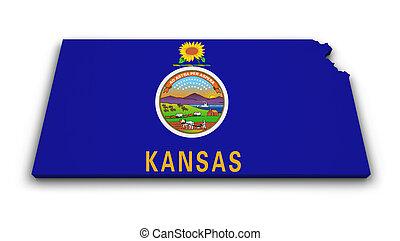 Kansas Map Flag Shape