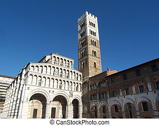 Lucca Cathedral Of St Martin - Facade and bell tower of the...