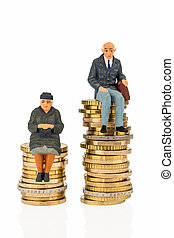 pensioners and retired on money stack - pensioners and...