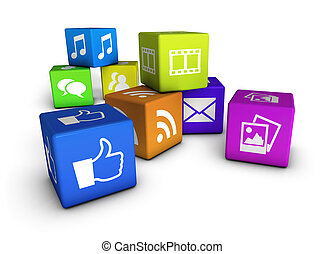 Website And Social Media Cubes - Website, social media and...