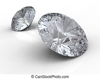 Two diamonds - Diamonds on white background with reflection