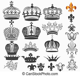 Collection of vector vintage royal - Vector set of crowns...