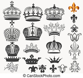Collection of vector vintage royal crowns for design -...