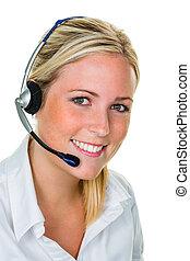mujer, auriculares, cliente, servicio