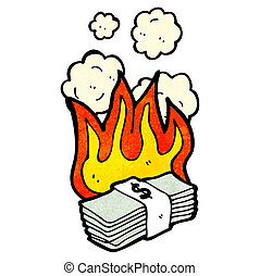 cartoon burning money