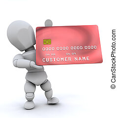 Person with credit card - Someone holding a generic credit...
