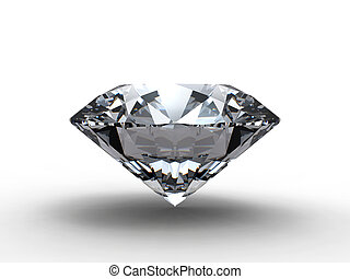 Diamond with reflection - Diamond on blue background with...