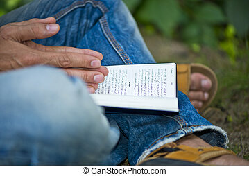 Young Man Ex-muslim Reading Bible Outside - New Born...